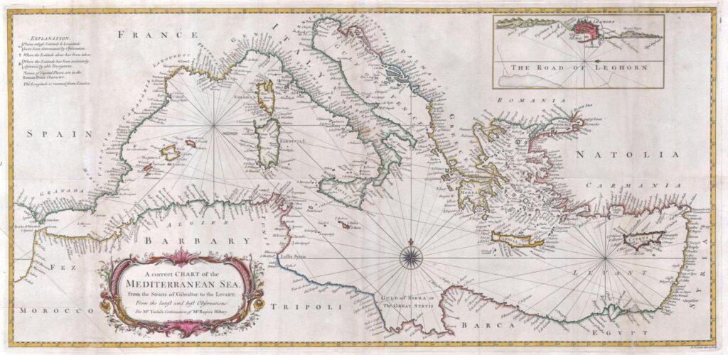 Antica carta con Isola di Mal di Ventre