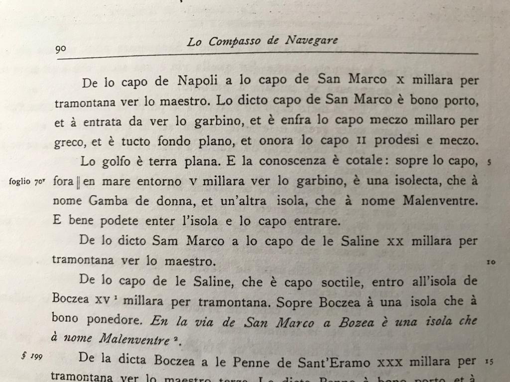 pagina di un libro in cui si cita l'antico nome Malenventre
